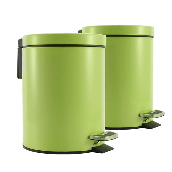 SOGA 2X Foot Pedal Stainless Steel Rubbish Recycling Garbage Waste Trash Bin Round 12L Green