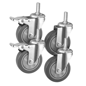 "SOGA 4"" Heavy Duty Polyurethane Swivel Castor Wheels with 2 Lock Brakes Casters"
