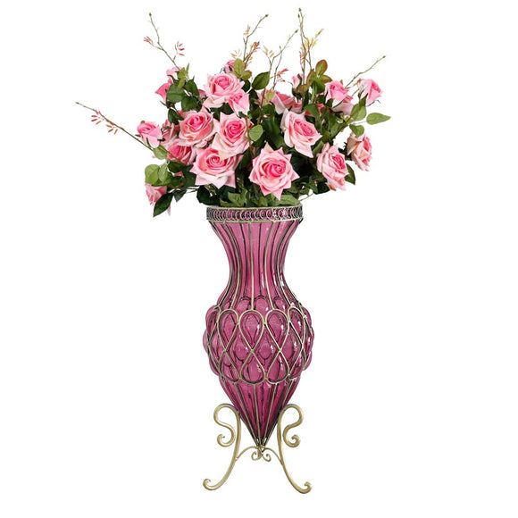 SOGA 67cm Purple Glass Tall Floor Vase and 12pcs Pink Artificial Fake Flower Set
