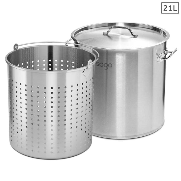 SOGA 21L 18/10 Stainless Steel Stockpot with Perforated Stock Pot Basket Pasta Strainer