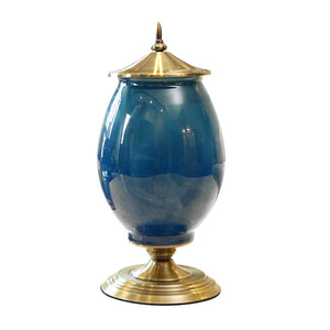 SOGA 40.5cm Ceramic Oval Flower Vase with Gold Metal Base Dark Blue