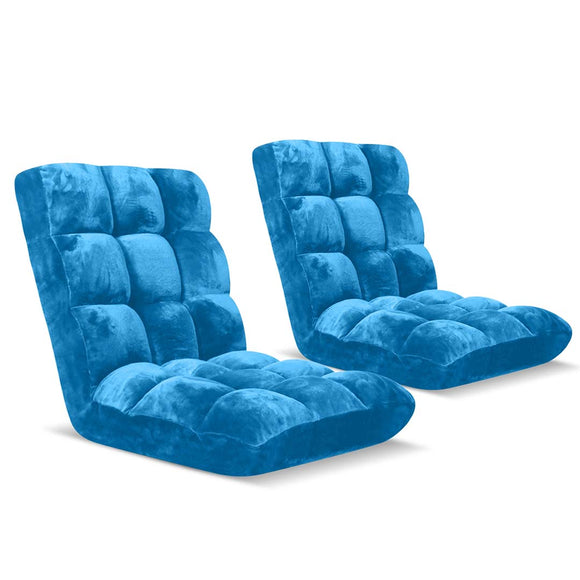 SOGA Floor Recliner Folding Lounge Sofa Futon Couch Folding Chair Cushion Blue x2