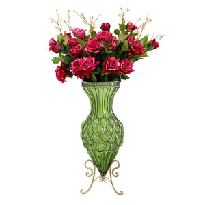 SOGA 67cm Green Glass Tall Floor Vase and 12pcs Red Artificial Fake Flower Set