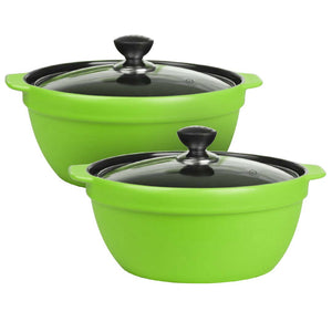 2X 3.5L Ceramic Casserole Stew Cooking Pot with Glass Lid Green
