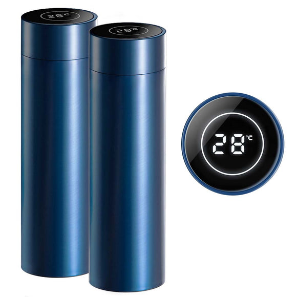 SOGA 2X 500ML Stainless Steel Smart LCD Thermometer Display Bottle Vacuum Flask Thermos Blue