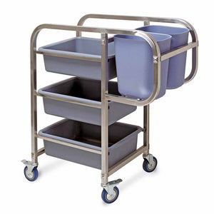 SOGA 3 Tier 82x44x92cm Food Trolley Food Waste Cart Five Buckets Kitchen Food Utility Square