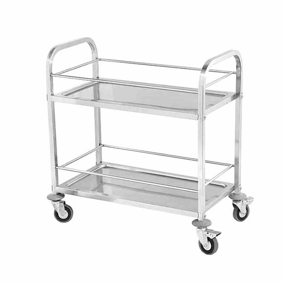 SOGA 2 Tier 75x40x84cm Stainless Steel Drink Wine Food Utility Cart Small