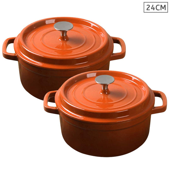 SOGA 2X Cast Iron 24cm Enamel Porcelain Stewpot Casserole Stew Cooking Pot With Lid Orange