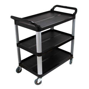 SOGA 3 Tier 10.2x50x96cm Food Trolley Food Waste Cart Storage Mechanic Kitchen Black Large