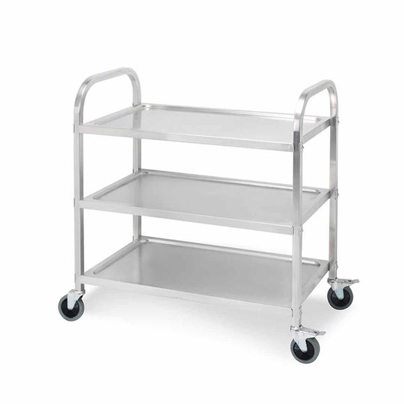 SOGA 3 Tier 75x40x83.5cm Stainless Steel Kitchen Dinning Food Cart Trolley Utility Size Small