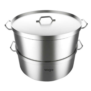 SOGA Food Steamer 35cm Commercial 304 Top Grade Stainless Steel 2 Tiers