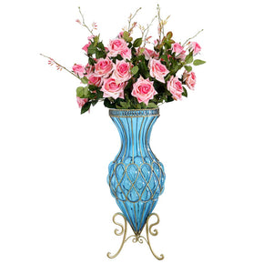 SOGA 67cm Blue Glass Tall Floor Vase and 12pcs Pink Artificial Fake Flower Set
