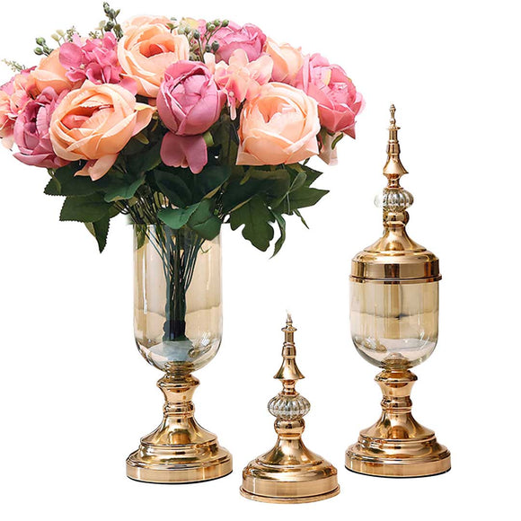SOGA 2 x Clear Glass Flower Vase with Lid and Pink Flower Filler Vase Gold Set