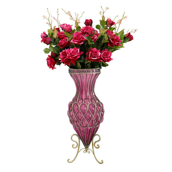 SOGA 67cm Purple Glass Tall Floor Vase and 12pcs Red Artificial Fake Flower Set