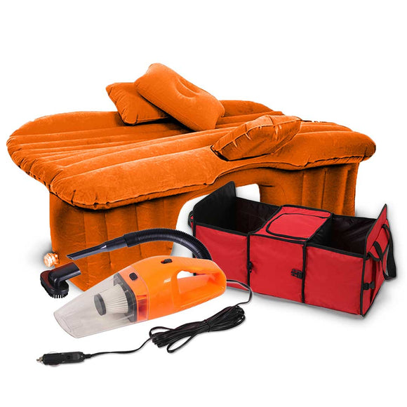 SOGA Portable Camping Car Set Inflatable Air Bed Mattress Storage Organizer Handheld Vacuum Orange