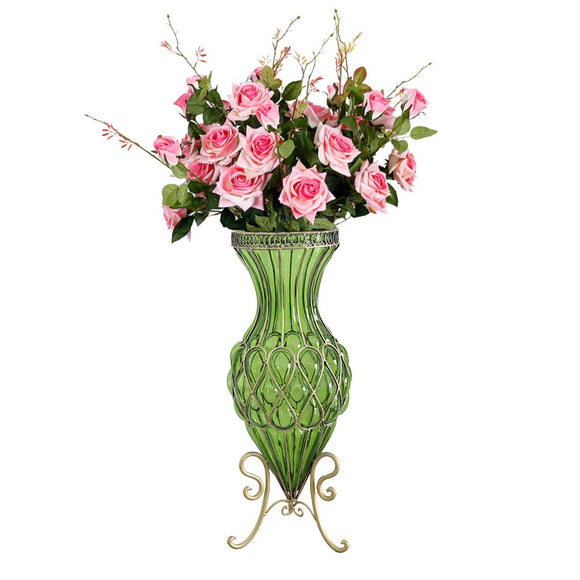 SOGA 67cm Green Glass Tall Floor Vase and 12pcs Pink Artificial Fake Flower Set