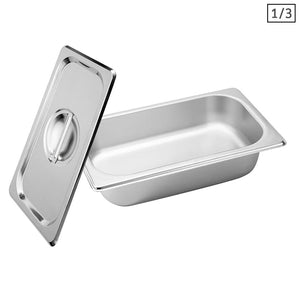 SOGA Gastronorm GN Pan Full Size 1/3 GN Pan 6.5 cm Deep Stainless Steel Tray With Lid