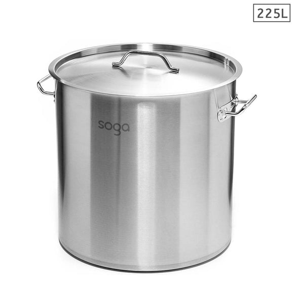 SOGA Stock Pot 225Lt Top Grade Thick Stainless Steel Stockpot 60CMX80CM 18/10