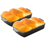 SOGA 2X 33cm Cast Iron Rectangle Bread Cake Baking Dish Lasagna Roasting Pan