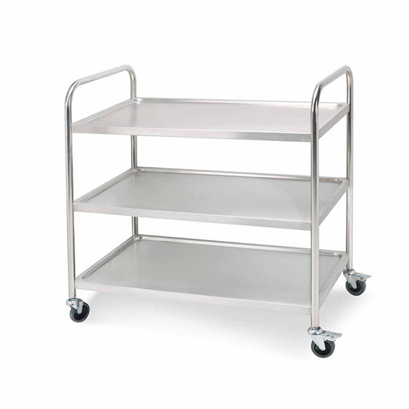 SOGA 3 Tier 86x54x94cm Stainless Steel Kitchen Dinning Food Cart Trolley Utility Round Large
