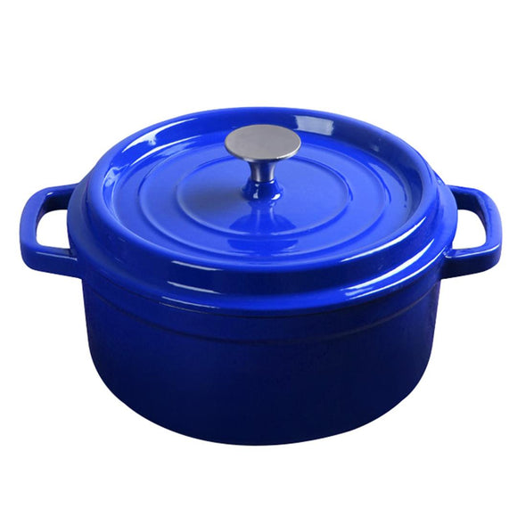 SOGA Cast Iron 24cm Enamel Porcelain Stewpot Casserole Stew Cooking Pot With Lid 3.6L Blue