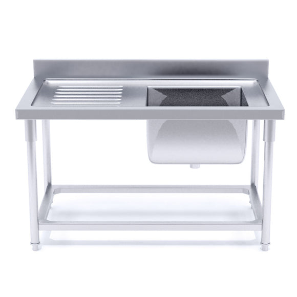 SOGA 120*70*85 Stainless Steel Work Bench Right Sink Commercial Restaurant Kitchen Food Prep