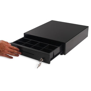 SOGA Black Heavy Duty Cash Drawer Manual 4 Bills 8 Coins Cheque Slot Tray Pos  350