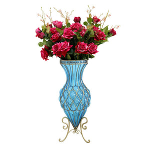 SOGA 67cm Blue Glass Tall Floor Vase and 12pcs Red Artificial Fake Flower Set