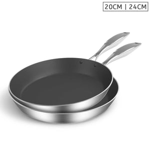 SOGA Stainless Steel Fry Pan 20cm 24cm Frying Pan Induction Non Stick Interior