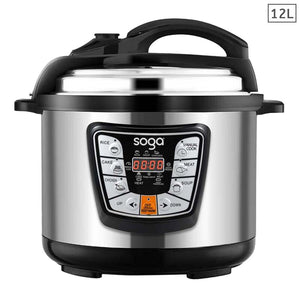 SOGA Electric Pressure Cooker 12L Stainless Steel NonStick 1600W