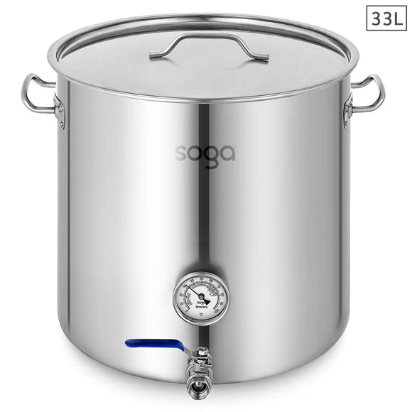 SOGA Stainless Steel Brewery Pot 33L With Beer Valve 35*35cm