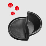 SOGA 2 in 1 Cast Iron Ribbed Fry Pan Skillet Griddle BBQ and Steamboat Hot Pot