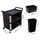 SOGA 3 Tier Covered Food Trolley Food Waste Cart Storage Mechanic Kitchen with Bins
