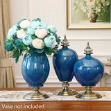 SOGA 3pcs Artificial Silk with 15 Heads Flower Fake Rose Bouquet Table Decor Blue