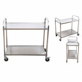 SOGA 2 Tier 95x50x95cm Stainless Steel Kitchen Dining Food Cart Trolley Utility Large