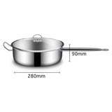 SOGA 2X 28cm Stainless Steel Saucepan With Lid Induction Cookware With Triple Ply Base