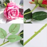 SOGA 12pcs Artificial Silk Flower Fake Rose Bouquet Table Decor Pink