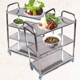 SOGA 4 Tier 47x32x79cm Stainless Steel Kitchen Dinning Food Cart Trolley Utility Size Square Small
