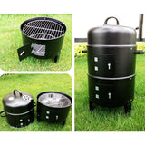 SOGA 2X 3 In 1 Barbecue Smoker Outdoor Charcoal BBQ Grill Camping Picnic Fishing