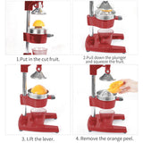 SOGA Commercial Manual Juicer Hand Press Juice Extractor Squeezer Orange Citrus Red