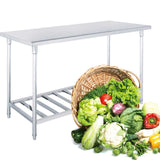 SOGA 150*70*85cm Commercial Catering Kitchen Stainless Steel Prep Work Bench