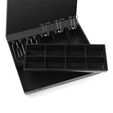 SOGA 2X 4 Bills 8 Coins Cash Tray With Lockable Lid Heavy Duty Spare Cash Tray Black