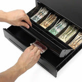 SOGA Black Heavy Duty Cash Drawer Electronic 4 Bills 8 Coins Cheque Slot Tray Pos 350