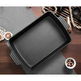 SOGA 33cm Cast Iron Rectangle Bread Cake Baking Dish Lasagna Roasting Pan