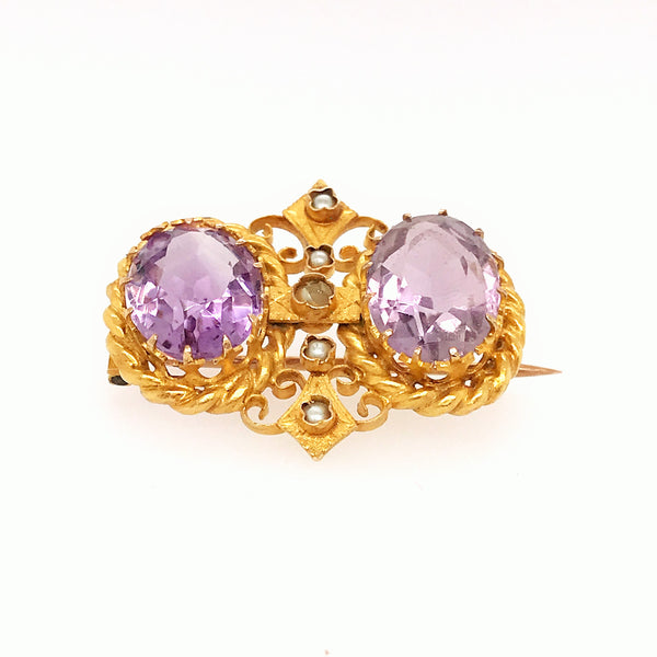 Beautifull antique Amethyst brooch