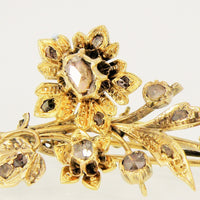 Bouquet of Flowers Antique Brooch with old-cut diamonds