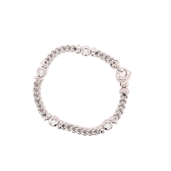 Brilliant Whitegold Knitted Bracelet