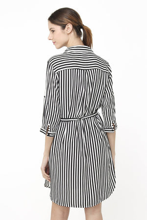 BUTTONED BLOUSE DRESS WITH VERTICAL STRIPES AND BOW