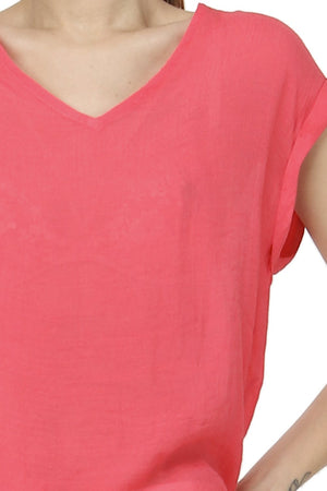 V-NECK TOP WITH SHORT CUFFED SLEEVES