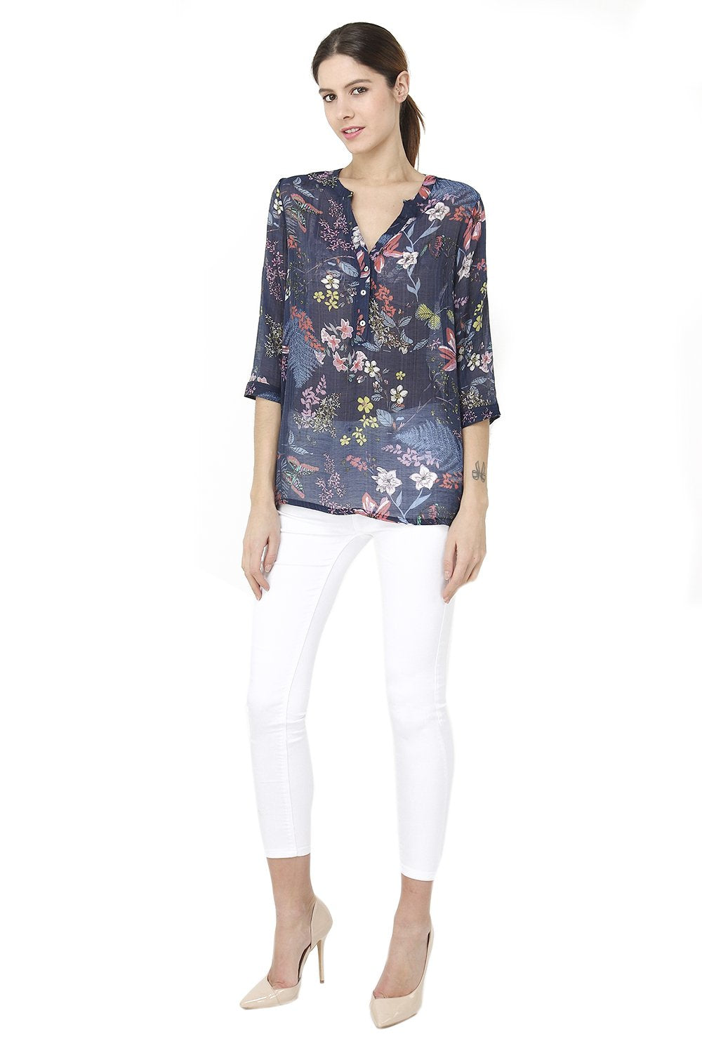FLORAL PATTERN BLOUSE WITH BUTTONS